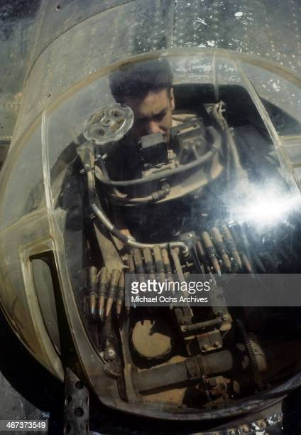 A crew member of the 44th Bombardment Group in a dorsal turret of the B24 at the US Air Force Base in Benghazi Libya