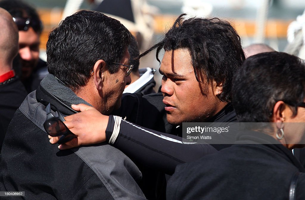 Crew members are farewelled by friends and family as Waka Tapu departs from Viaduct Harbour, for a four month return voyage to Rapa Nui (Easter Island), on August 17, 2012 in Auckland, New Zealand. The 10,000 nautical mile voyage will retrace the ancestors of Maori when they first travelled across the Pacific to make their home in New Zealand.