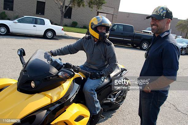 Crew members are given instructions on how to ride the new CanAm Spyder at an undisclosed location on October 23 2007 in Los Angeles California