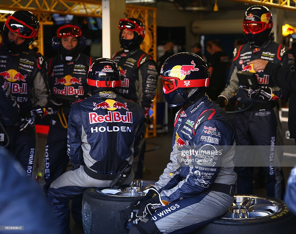 Crew members from Red Bull Racing Australia are seen during the warm up session prior to race one of the Clipsal 500, which is round one of the V8 Supercar Championship Series, at the Adelaide Street Circuit on March 2, 2013 in Adelaide, Australia.