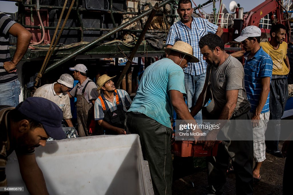 Crew members from the fishing vessel Youssri II, which rescued more than 30 migrants in 2015 unload their catch after arriving at port on June 30, 2016 in Zarzis, Tunisia. Since 2012, the Tunisian border town of Zarzis has dealt with the overflow of migrants from Libya. In 2015 with pressure from EU nations, Tunisia tightened its border security with Libya, cutting the number of migrants arriving in Tunisian border towns. Local fishermen from the Zarzis port who were trained in rescue techniques by MSF in 2015 after being involved in weekly rescues, have seen no rescues so far in 2016, primarily due to an increase in rescue boats from international NGOÕs, coastguards and military vessels patrolling the waters off the Libyan coast. However with an estimated 800,000 migrants waiting in Libya to attempt the dangerous crossing to Europe, preparations were made for an expected increase in rescues and arrivals to Tunisia ahead of the 2016 peak season