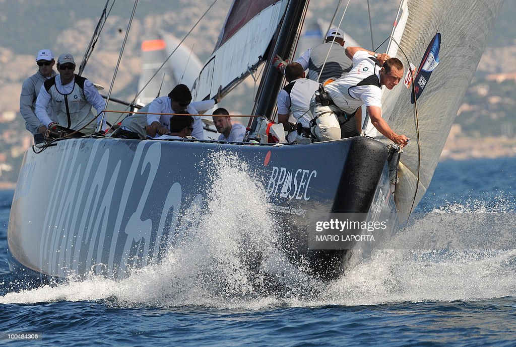 Crew members of the American team Oracle take part in a regatta of the Louis Vuitton Trophy on May 24, 2010 at La Maddalena island in Sardinia. Ten teams battle out over a two-week regatta begun on May 22 until June 6, 2010.