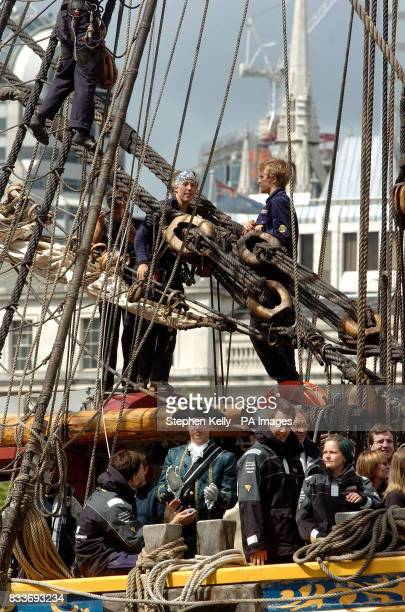 Crew members on board the Swedish ship Gtheborg a fullscale replica of an 18th Century East India merchantman fires its cannons after passing under...