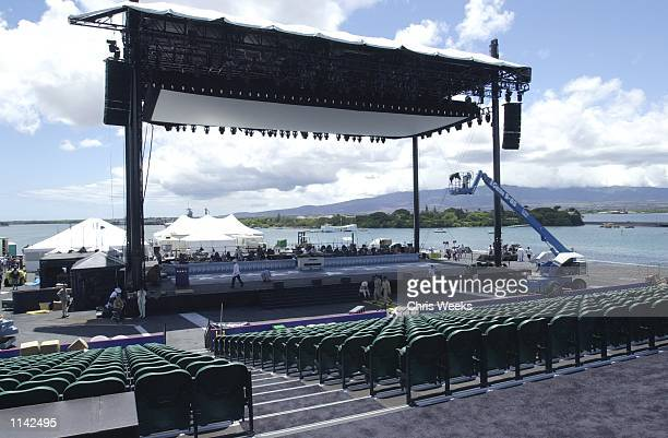 Crew members work to ready the outdoor movie theatre for the world premiere of 'Pearl Harbor' on the deck of the US Aircraft carrier John C Stennis...