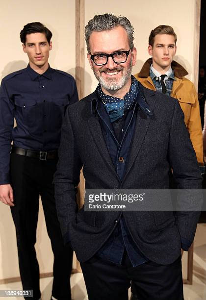 J Crew menswear designer Frank Muytjens poses on the runway at the JCrew Fall 2012 Presentation during MercedesBenz Fashion Week at The Studio at...
