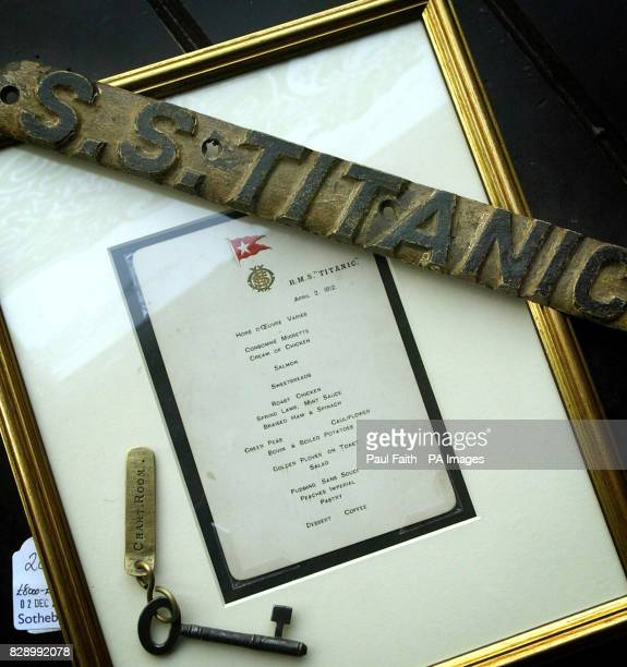 A crew menu card and lifebelt name plate recovered from the wreck of the Titanic on display at the launch of Titanic memorabilia exhibition in...