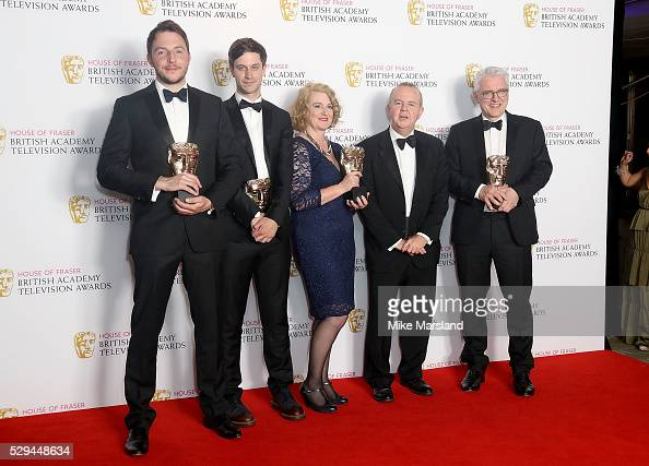 Crew of Have I Got News For You including Ian Hislop winners of the Best Comedy and Comedy Entertainment Programme award pose in the winners room at...