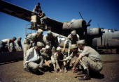 Crew of the 44th Bombardment Group inspect a B24 Liberator at the US Air Force Base in Benghazi Libya
