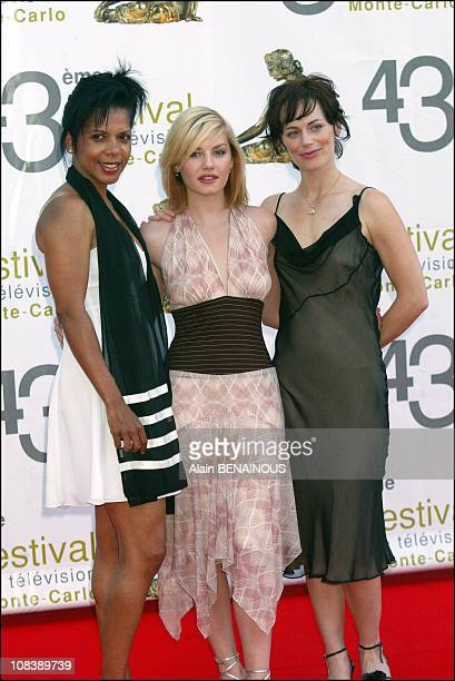 Crew of TV film '24 hours' Penny Johnson Elisa Curthbert and Clarke Sarah in Monaco on July 03 2003