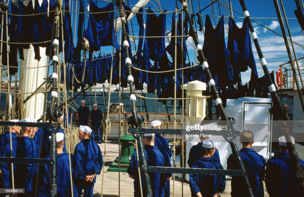 Crew on board the Danmark, Aalborg Marine Museum - Aalborg, Jutland : Stock Photo