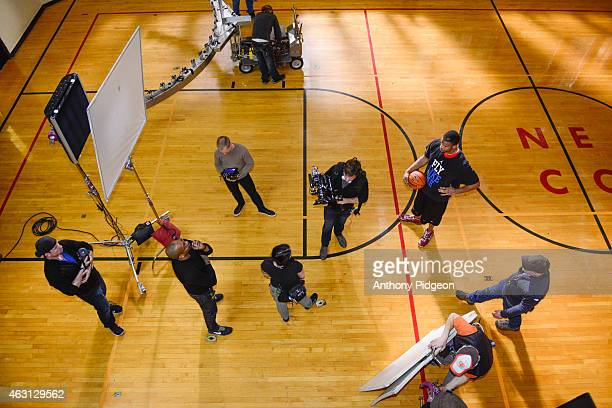 Crew on the set of The American Express PIVOT Shoot with LaMarcus Aldridge at NE Community Center on January 23 2015 in Portland Oregon