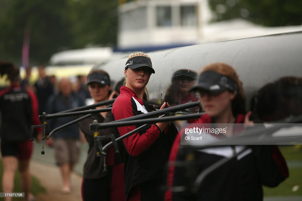 A crew prepares to compete in the time trial discipline of the first day of the Henley Women's Regatta on June 21, 2013 in Henley-on-Thames, England. The annual 3-day event, which has taken place since 1988, sees female crews from the UK and abroad compete on the Henley Royal Regatta course. In the past, several female rowers who have enjoyed success at the Henley Women's Regatta have gone on to win Olympic medals in the sport.