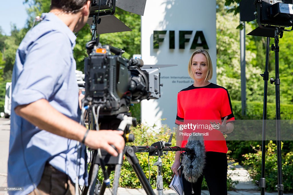 A TV crew reports from outside the FIFA headquarters on June 3, 2015 in Zurich, Switzerland. Joseph S. Blatter resigned as president of FIFA. The 79-year-old Swiss official, FIFA president for 17 years said a special congress would be called to elect a successor.