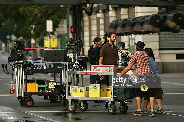 A crew sets up cameras for the filming a mobile phone commercial onlocation on November 18 2006 in Los Angeles California A report released this week...