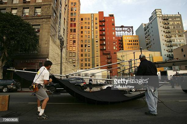 A crew sets up equipment for the filming a mobile phone commercial onlocation on November 18 2006 in Los Angeles California A report released this...