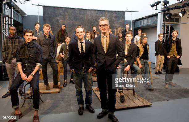 Crew stylist Jack O'Connor and designer Frank Muytjens attend the JCrew Fall 2010 Collection presentation at Milk Studios on April 1 2010 in New York...
