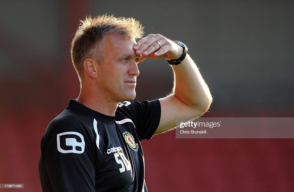 Crewe Alexandra manager Steve Davis looks on during the pre season friendly match between Crewe Alexandra and Blackburn Rovers at The Alexandra...