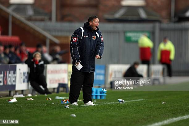 Crewe Alexandra manager Steve Holland shouts instructions during the Coca Cola League One Match between Crewe Alexandra and Northampton Town at...