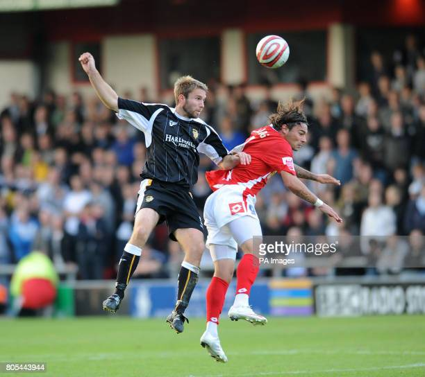 Crewe Alexandra's Anthony Elding and Port Vale's Anthony Griffin during the CocaCola League Two match at The Alexandra Stadium Crewe