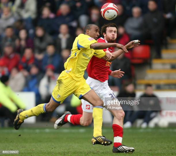 Crewe Alexandra's John Brayford and Leeds United's Fabian Delph during the CocaCola League One match at Gresty Road Crewe