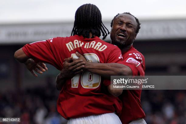 Crewe Alexandra's Nicky Maynard opens the scoring and celebrates with team mate Rodney Jack