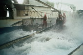 Crewmen standing on deck of trawler during rough seas