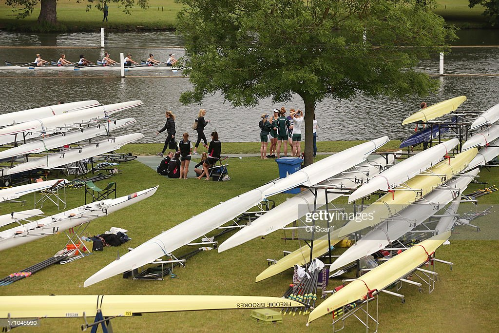 Crews compete in the time trial discipline of the first day of the Henley Women's Regatta on June 21, 2013 in Henley-on-Thames, England. The annual 3-day event, which has taken place since 1988, sees female crews from the UK and abroad compete on the Henley Royal Regatta course. In the past, several female rowers who have enjoyed success at the Henley Women's Regatta have gone on to win Olympic medals in the sport.