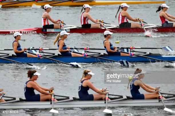 Crews compete in the womens club coxless quadruple scullsduring the Bankstream New Zealand Rowing Championships at Lake Karapiro on February 19 2014...