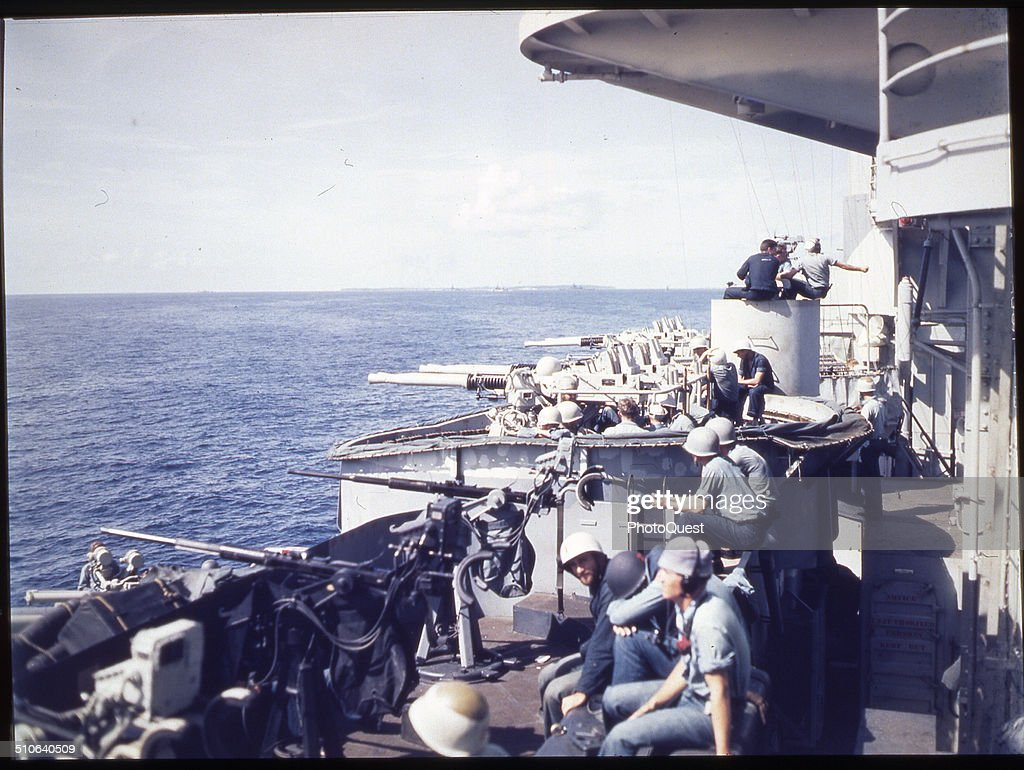 Crews of a US battleship's 20mm and 40mm guns take a breather during the landings Peleliu Palau September 15 1944