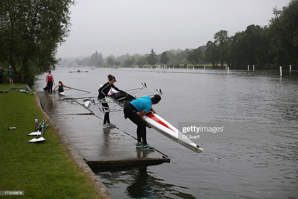 Crews prepare to compete in the time trial discipline of the first day of the Henley Women's Regatta on June 21, 2013 in Henley-on-Thames, England. The annual 3-day event, which has taken place since 1988, sees female crews from the UK and abroad compete on the Henley Royal Regatta course. In the past, several female rowers who have enjoyed success at the Henley Women's Regatta have gone on to win Olympic medals in the sport.