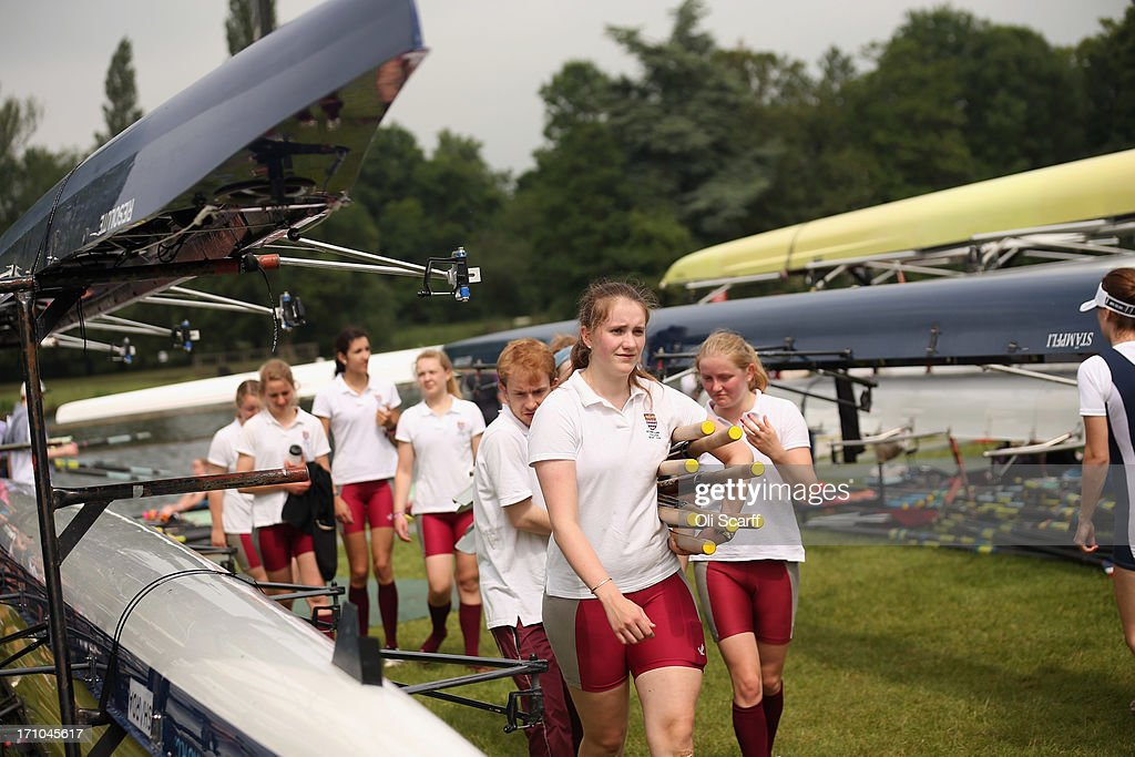 Crews return from competing in the time trial discipline of the first day of the Henley Women's Regatta on June 21, 2013 in Henley-on-Thames, England. The annual 3-day event, which has taken place since 1988, sees female crews from the UK and abroad compete on the Henley Royal Regatta course. In the past, several female rowers who have enjoyed success at the Henley Women's Regatta have gone on to win Olympic medals in the sport.