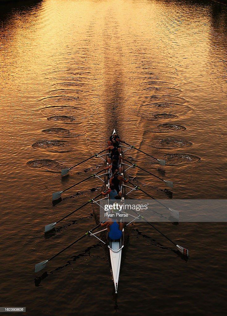 Crews row on the Yarra River during Henley On The Yarra on February 23, 2013 in Melbourne, Australia.