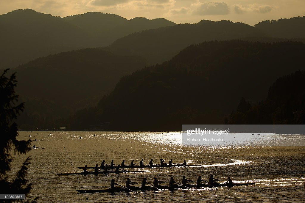 Crews take part in a training run late in the day during day two of the FISA Rowing World Championships at Lake Bled on August 29, 2011 in Bled, Slovenia.