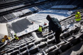 Crews work to remove snow from MetLife Stadium which will host Superbowl XLVIII next month on January 22 2014 in East Rutherford New Jersey In what...