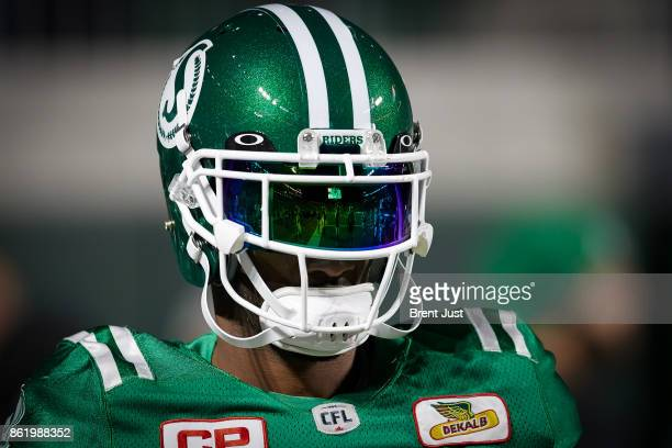 Crezdon Butler of the Saskatchewan Roughriders on the field before the game between the Ottawa Redblacks and Saskatchewan Roughriders at Mosaic...