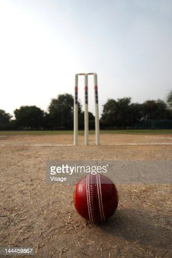 Cricke ball aand wickets on a pitch