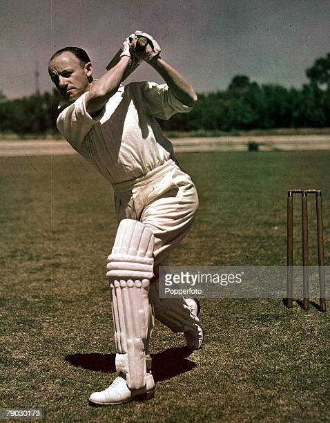 Cricket A picture of the legendary Australian batsman Sir Donald Bradman playing one of his trademark flowing drives