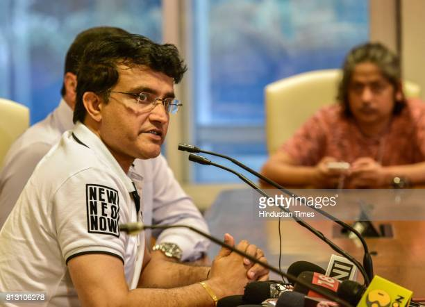 Cricket Advisory Committee Chief Sourav Ganguly during a press conference for Indian cricket team coach at BCCI headquarters on July 10 2017 in...