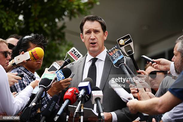 Cricket Australia CEO James Sutherland speaks to the media during a Cricket Australia press conference at the Cricket NSW Offices on November 28 2014...