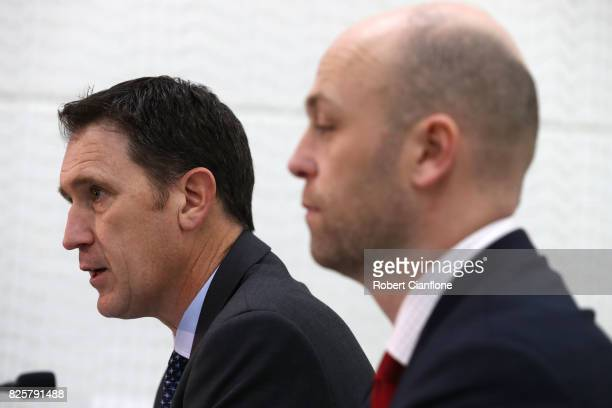 Cricket Australia CEO James Sutherland speaks to the media during a press conference at Melbourne Cricket Ground on August 3 2017 in Melbourne...