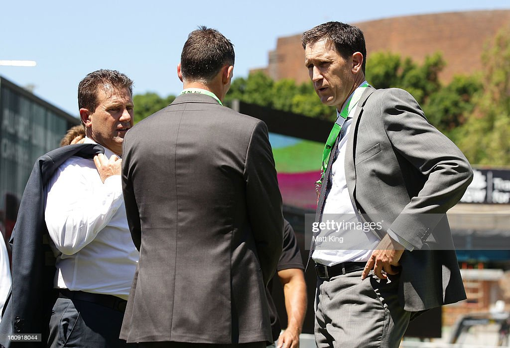 Cricket Australia CEO James Sutherland (R) speaks with former players and commentators Mark Taylor (L) and Michael Hussey (C) during game four of the Commonwealth Bank One Day International Series between Australia and the West Indies at Sydney Cricket Ground on February 8, 2013 in Sydney, Australia.