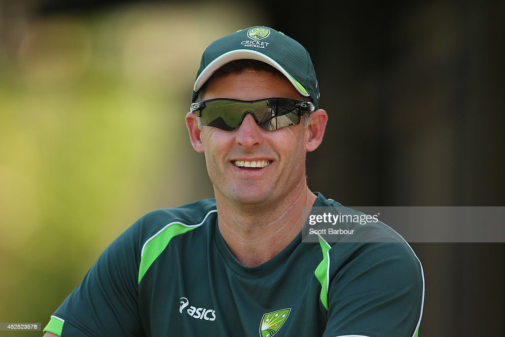 Cricket Australia consultant coach Mike Hussey looks on during the Quadrangular Series match between Australia A and the Cricket Australia National Performance Squad at Marrara Oval on July 22, 2014 in Darwin, Australia.