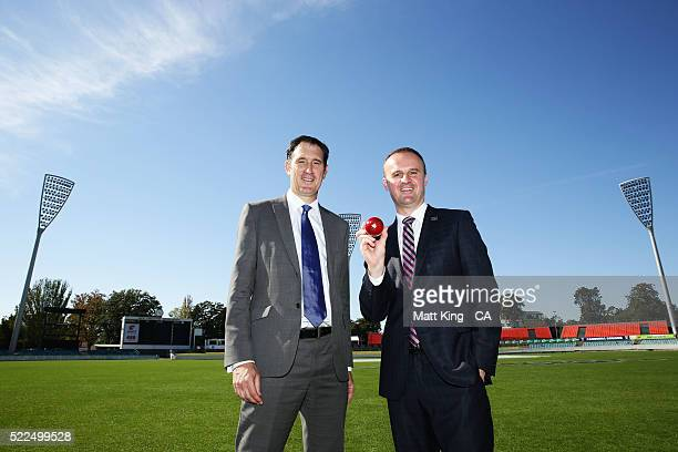 Cricket Australia CEO James Sutherland and ACT Chief Minister Andrew Barr pose during a Cricket Australia media opportunity at Mauka Oval on April 20...