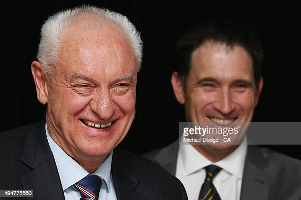 Cricket Australia Chairman Wally Edwards reacts with Cricket Australia CEO James Sutherland during the Cricket Australia Annual General meeting at...