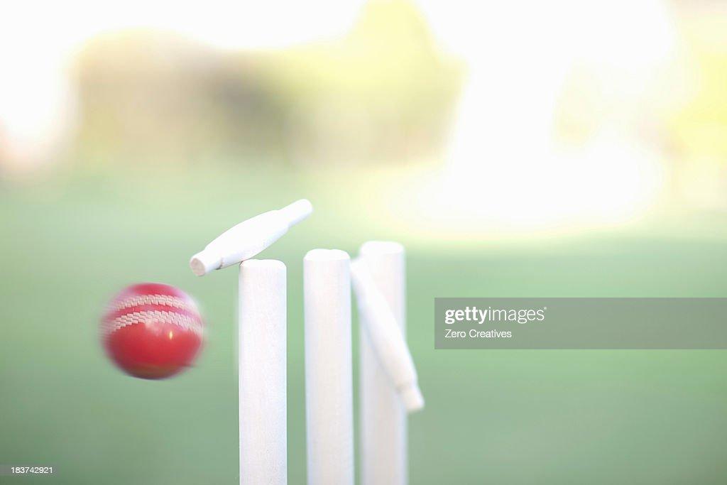 Cricket ball hitting cricket stumps, close up