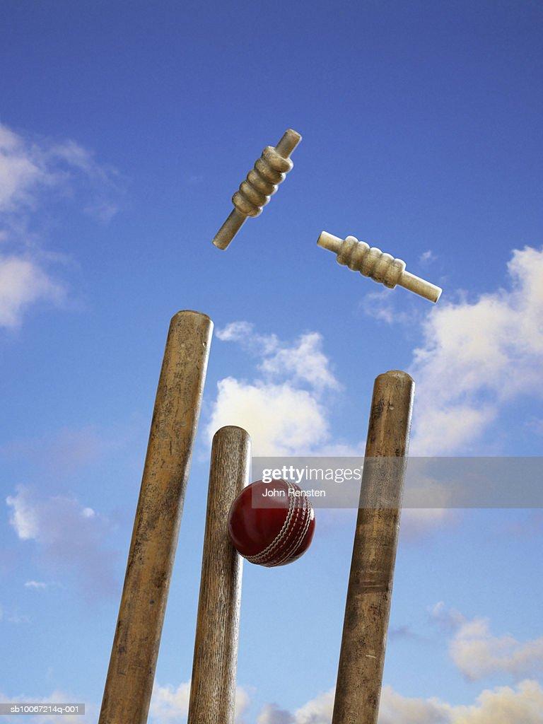 Cricket ball hitting stump
