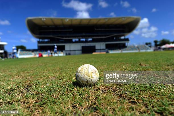 A cricket ball is pictured at the ground at the Kensington Oval in Bridgetown on March 8 2014 West Indies will play the threematch Twenty20 series...