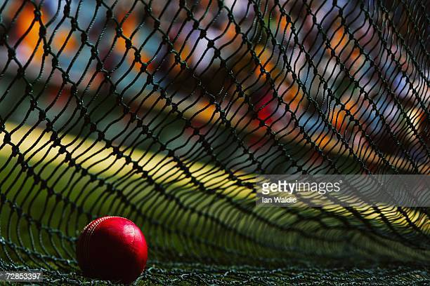 A cricket ball lies against a training net at the Gabba cricket ground during the first Ashes test November 24 2006 in Brisbane Australia The Ashes...