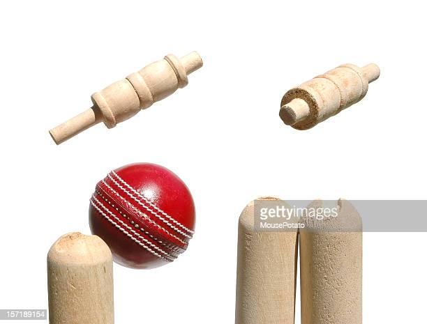 Cricket ball smashes through the bails.