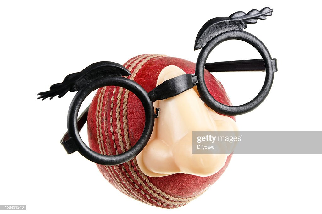 cricket glasses  Cricket Ball Wearing Comedy Glasses Stock Photo
